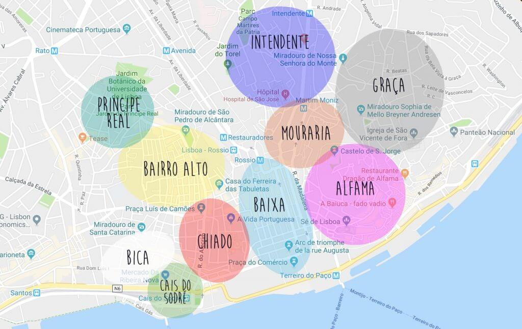 Plan des quartiers de Lisbonne