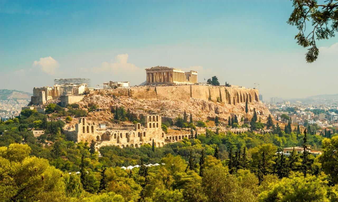 Visiter l'Acropole d'Athènes en français à vélo avec Alexandra